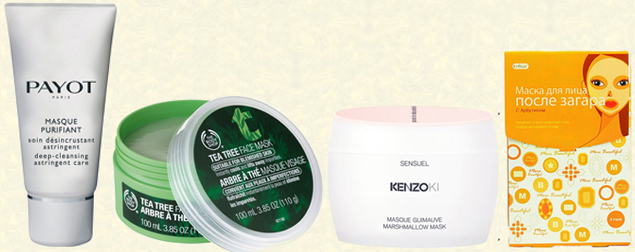 Маски Payot Masque Purifiant, The Body Shop с маслом чайного дерева, Kenzoki Marshmallow Mask, Cettua маска после загара