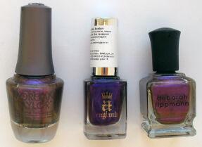 Три фиолетовых лака: Morgan Taylor, A-England, Deborah Lippmann