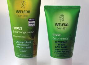 Средства для тела Weleda: гель для душа Citrus Cremedouche и пилинг Birke Douche-Peeling