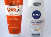 Два отшелушивающих геля для душа: Yes to Carrots и Nivea