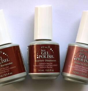 Гель-лак ibd Just Gel Polish – оттенки Tranquil Surrender, Scarlett Obsession и Road to Paris